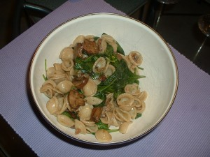 Orecchiette Pasta With Pancetta, Mushrooms, and Baby Spinach