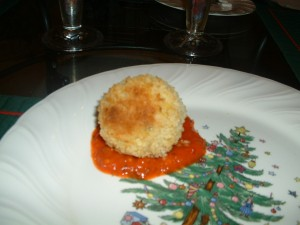 Rice Balls with Red Pepper Sauce