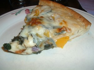 Pizza with Cremini Mushrooms, Yellow Peppers and Spinach