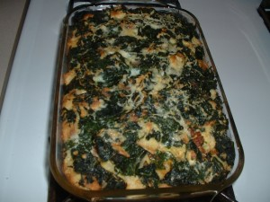 Savory Kale Bread Pudding