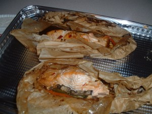 Asian Style Baked Salmon Wrapped In Parchment Paper